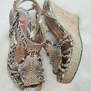 Elaine Turner- Snake print wedge sandals